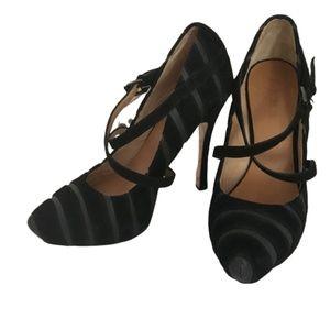 L.A.M.B Suede Stripe Platform Heels